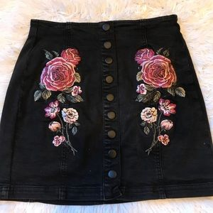 Pacsun Embroidered Floral Skirt